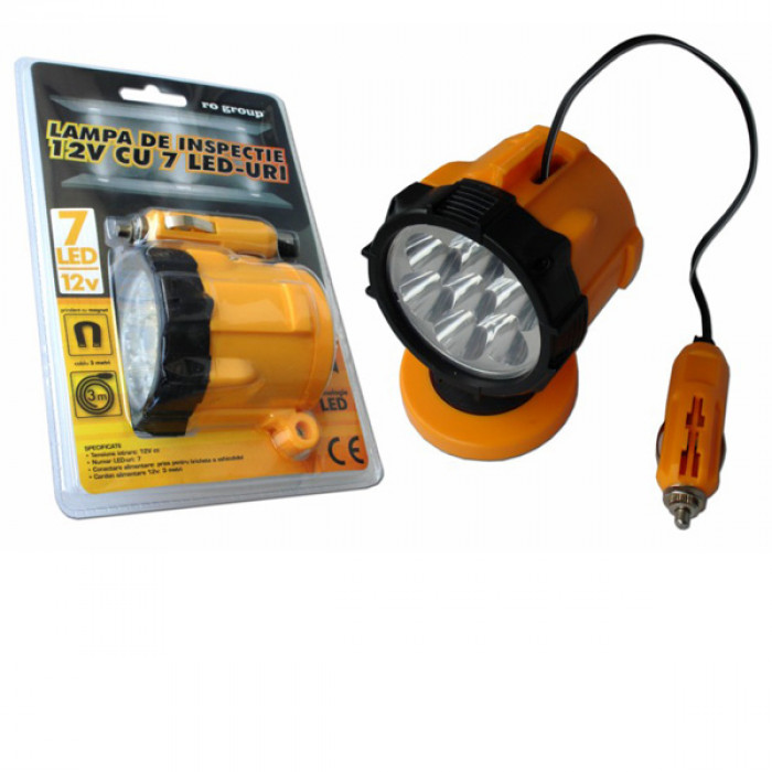 Работна лампа със 7 светодиода и магнит 12v