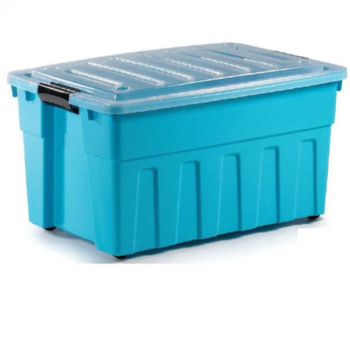 Кутия за съхранение 120 л с капак и колела