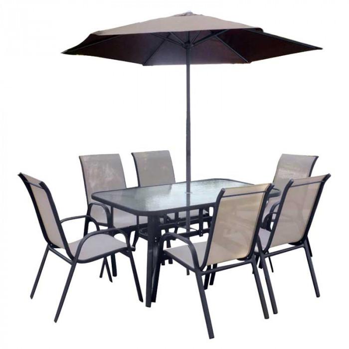 Градински комплект с 6 стола маса и чадър