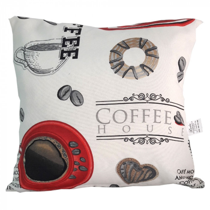 Декоративна възглавница с цип и пълнеж 43х43см червено кафе
