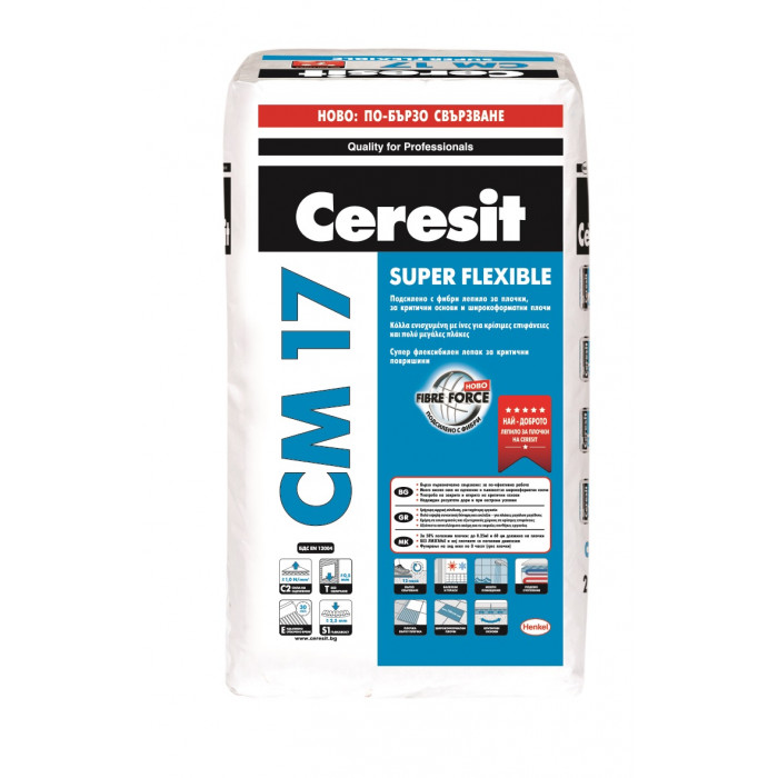 Лепило за плочки и гранитогрес Ceresit CM 17 / 25кг