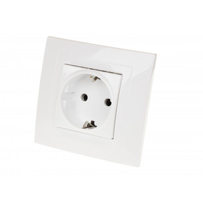 Електрически контакт бял Unica Basic
