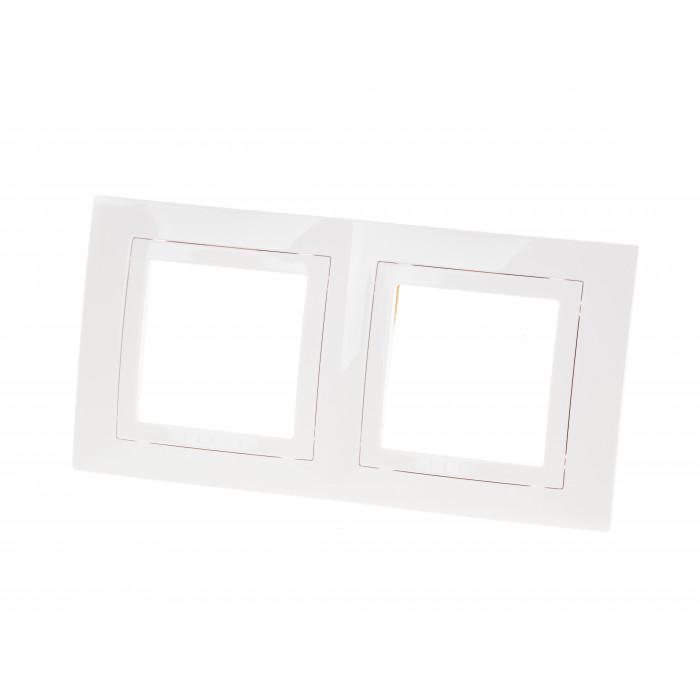 Двойна рамка за електрически ключ Unica Basic U2.004.18 / бяла
