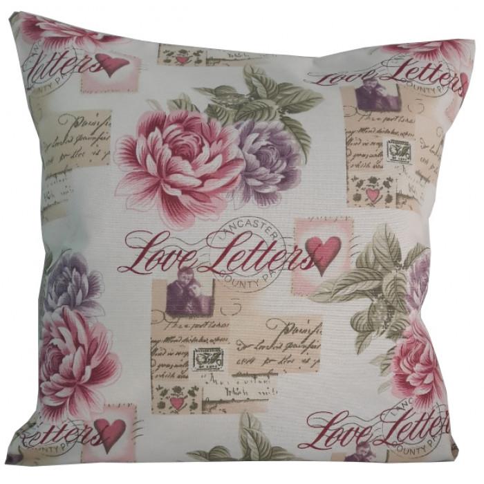 Декоративна възглавница с цип и пълнеж 43х43см розово любовно писмо