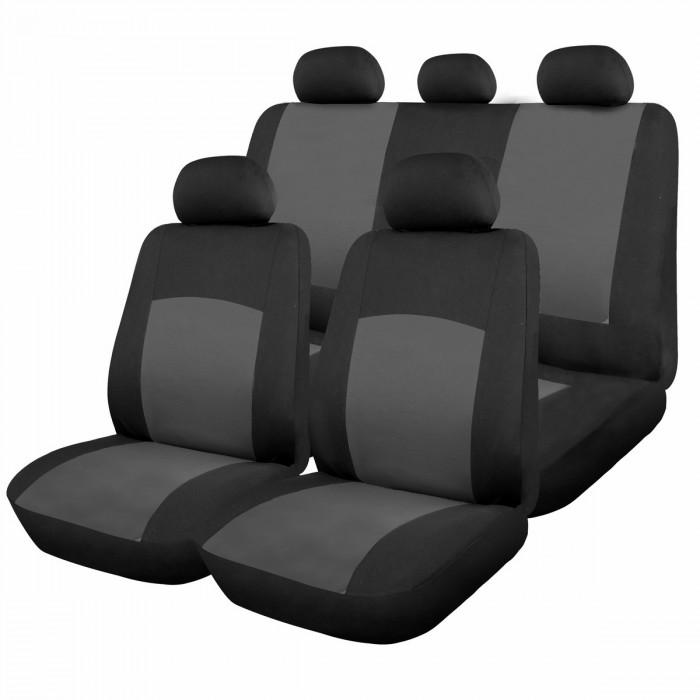 Комплект кaлъфки зa седалки 9 чaсти сиво/черно