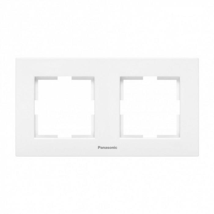 Двойна рамка хоризонтална бял Panasonic Каре Плюс