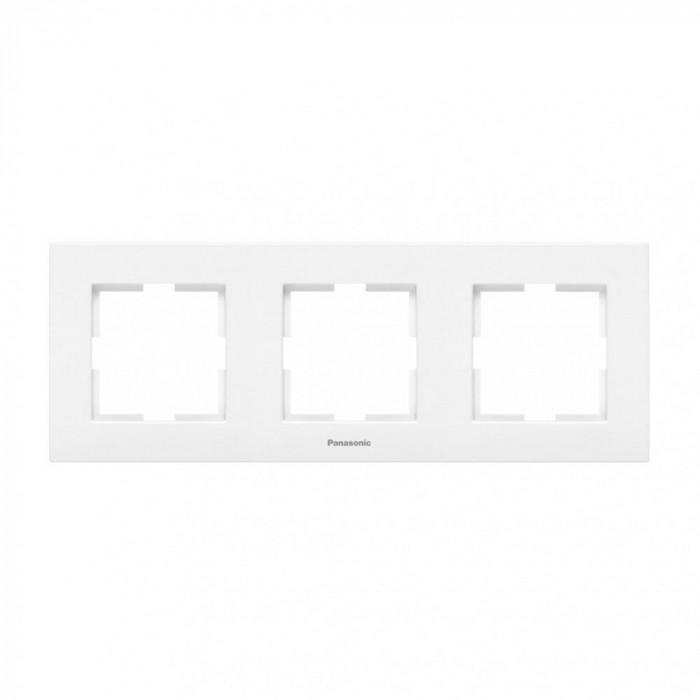 Тройна рамка хоризонтална бял Panasonic Каре Плюс