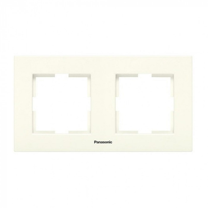 Двойна рамка хоризонтална крем Panasonic Каре Плюс