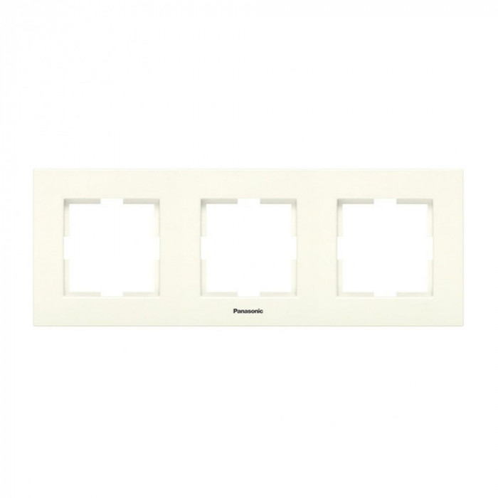 Тройна рамка хоризонтална крем Panasonic Каре Плюс