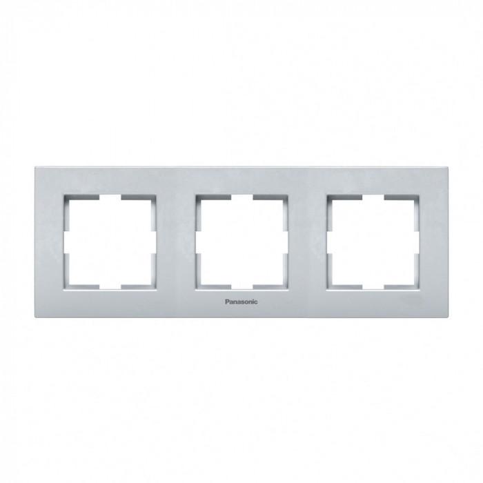 Тройна рамка хоризонтална сив Panasonic Каре Плюс
