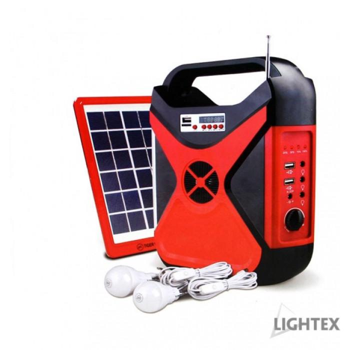 Преносим соларен фенер Lightex с радио / 2 лампи / USB