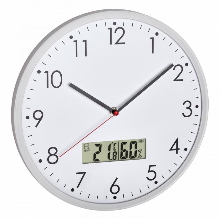 Аналогов стенен часовник с цифров термометър и хигрометър TFA