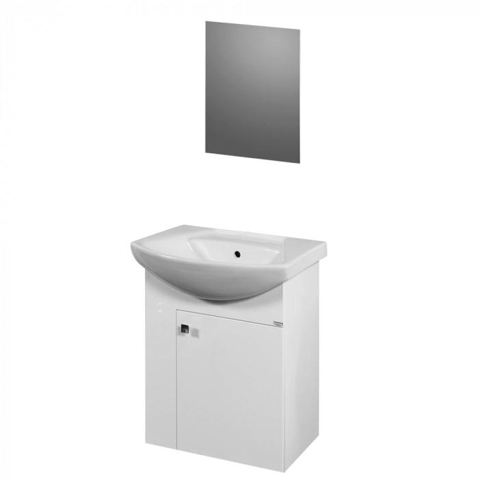 PVC Мебел за баня конзолен с умивалник комплект с огледало Вики  55 см