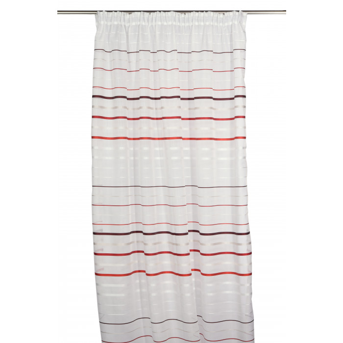 Перде полупрозрачно с перделък 145х250см крем / линии червени и бордо