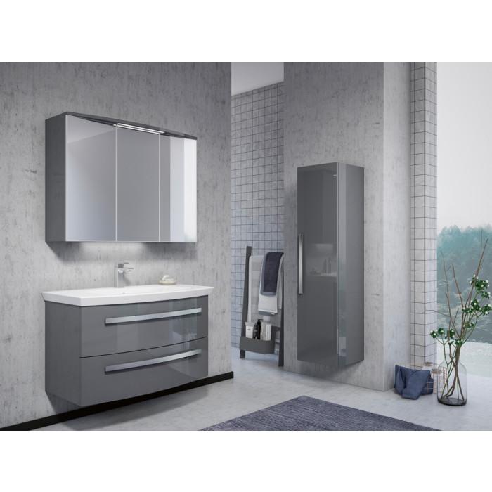 Горен шкаф за баня с огледало и LED осветление Orka Urla / Grey Lacquer / 90см