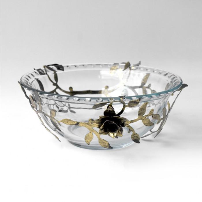 Стъклена купа с декорация от метал