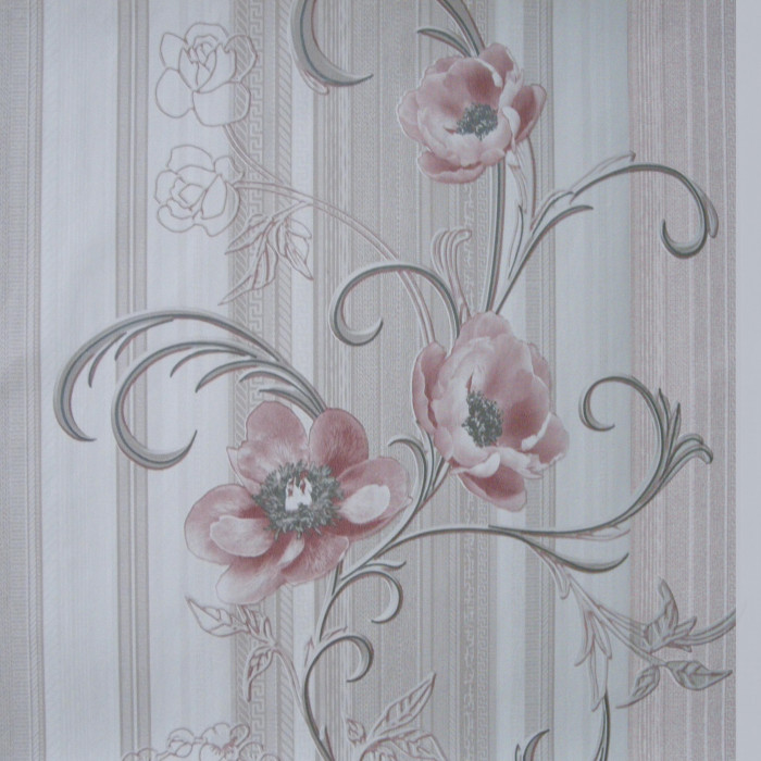 Тапет дуплекс-божури - цвят пепел роза и сребро, 178-03