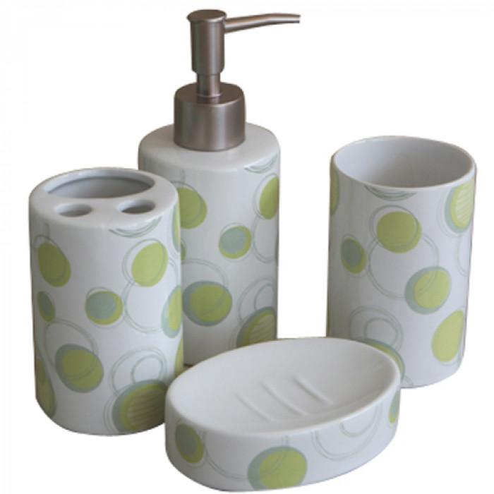 Комплект за баня порцелан №185е2480 зелено 4 части
