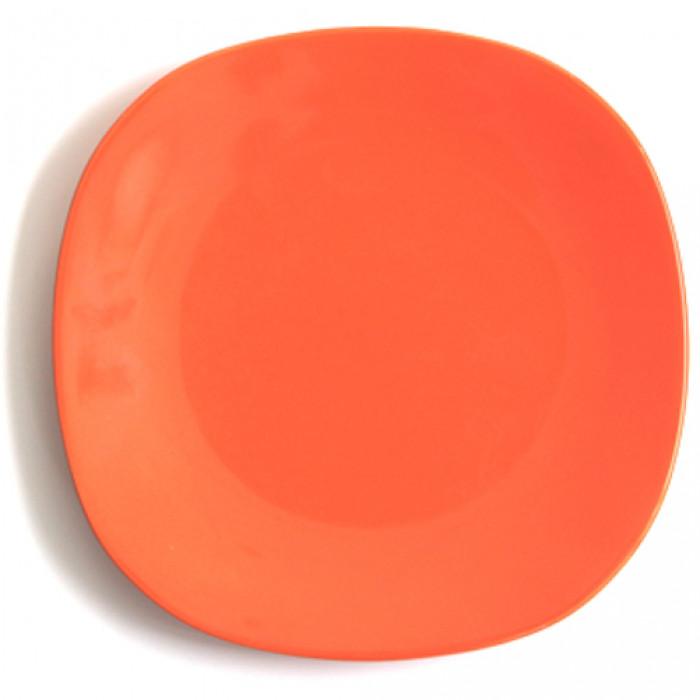 Квадратна керамична чиния 21см оранжево
