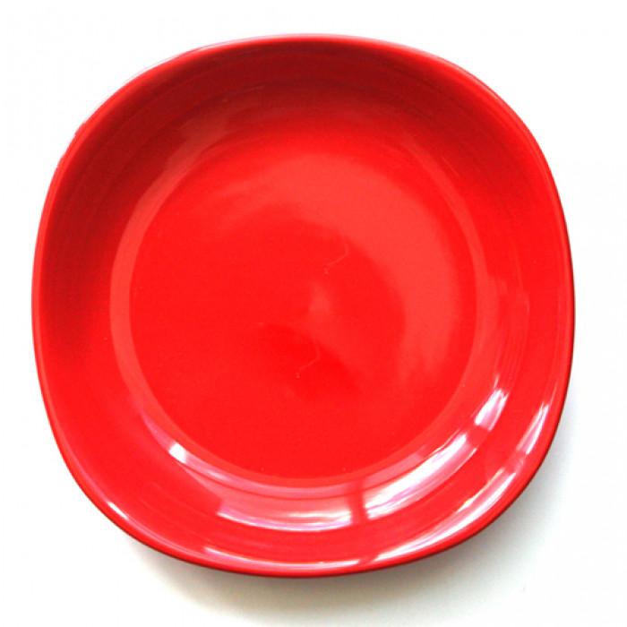 Квадратна керамична чиния 22см дълбока червена