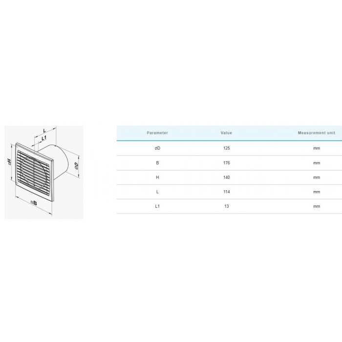 Вентилатор Vents 125 STH / 16W