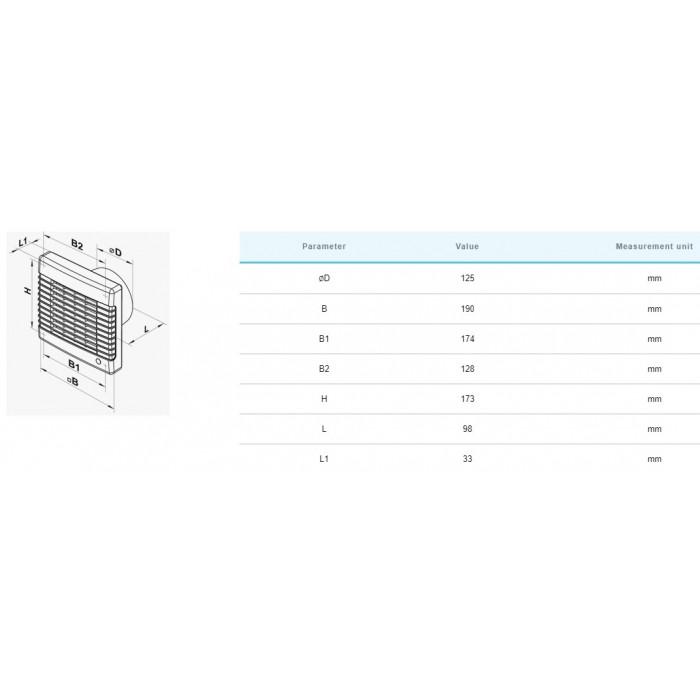 Вентилатор Vents 125MA / 22W