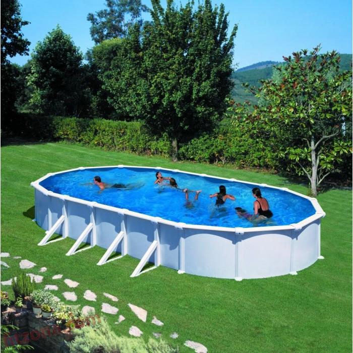 Сглобяем басейн с метална стена и филтърна система, овал 730x375х132см