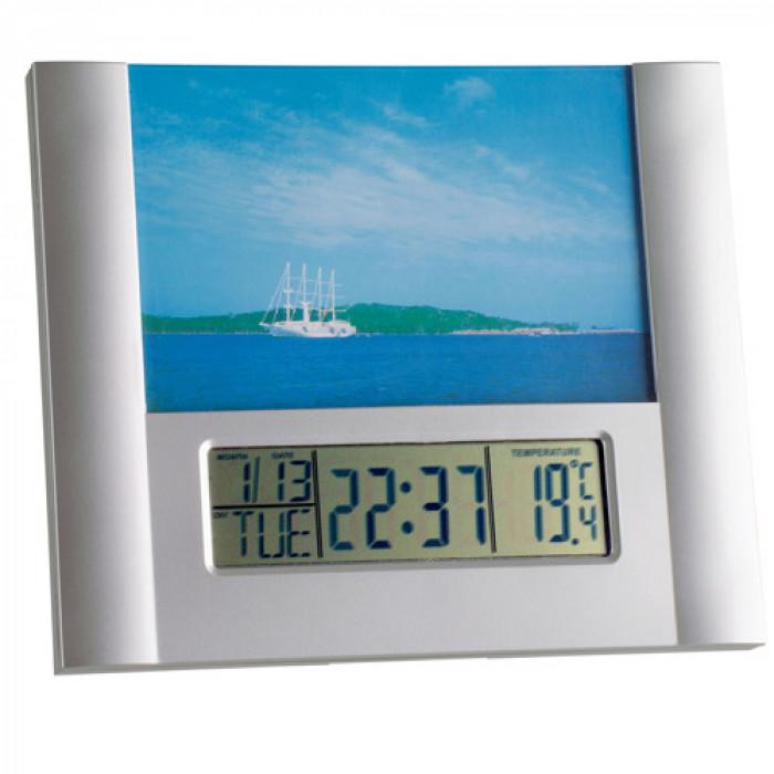 Будилник дигитален дата термометър фоторамка 170x200x18mm