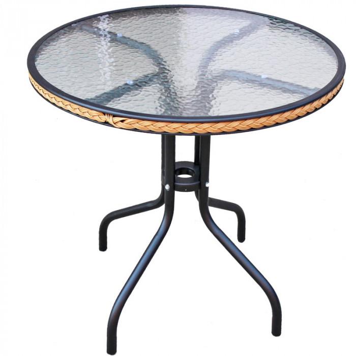 Градинска маса метална с PVC ратан и стъкло TLH087