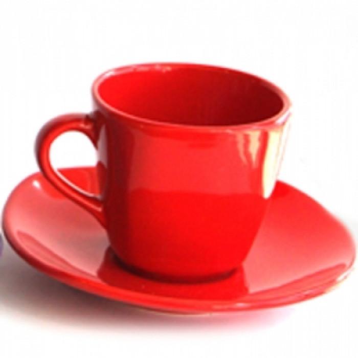 Керамичен чаен сервиз  6бр. Червен