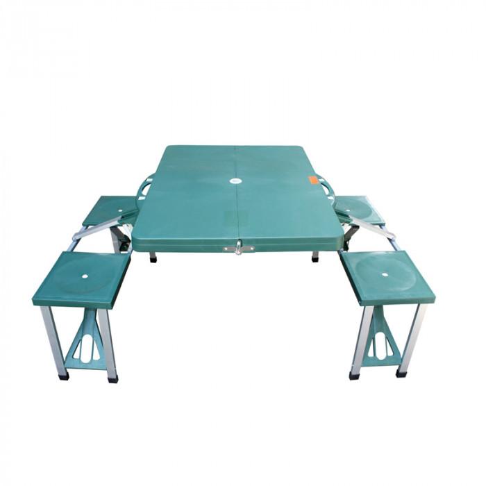 Компактен комплект за пикник маса с четири седящи места в куфар