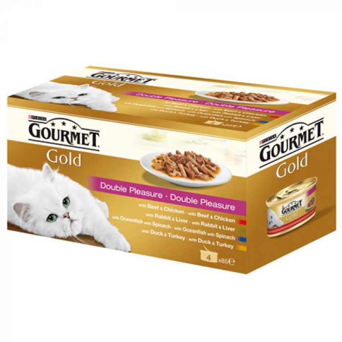 Консерва за котки  GOURMET GOLD  двойно удоволствие 4x85 гр.