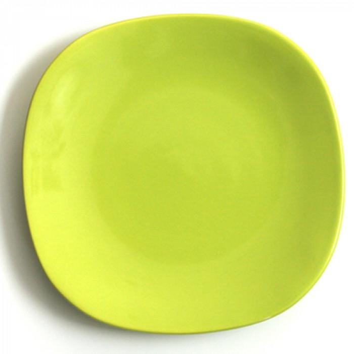 Квадратна керамична чиния 21см зелено