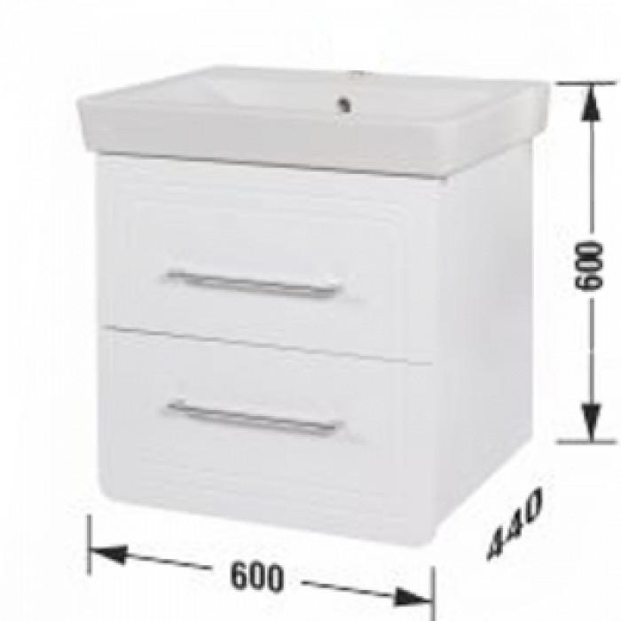 Мебел за баня Конзолен с умивалник с чекмеджета с плавно прибиране Маями