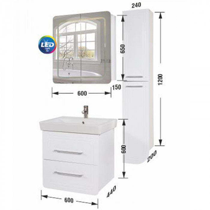 Шкаф за баня горен Маями