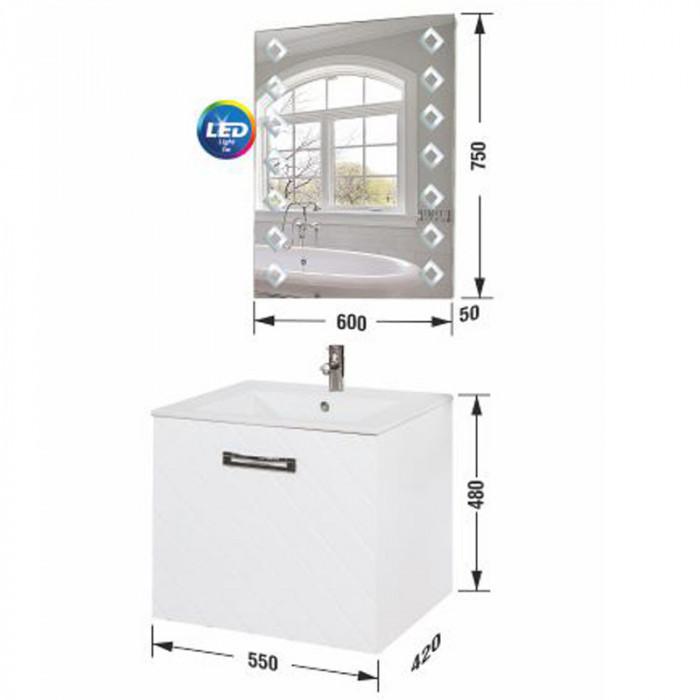 Шкаф за баня горен с огледало Пепе