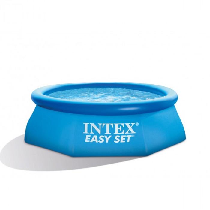 Басейн с надуваем ринг и филтърна помпа Intex 244х76 см