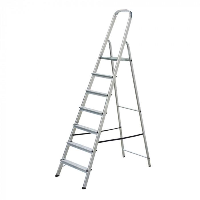 Алуминиева стълба 7+1 стъпала 166см 120кг