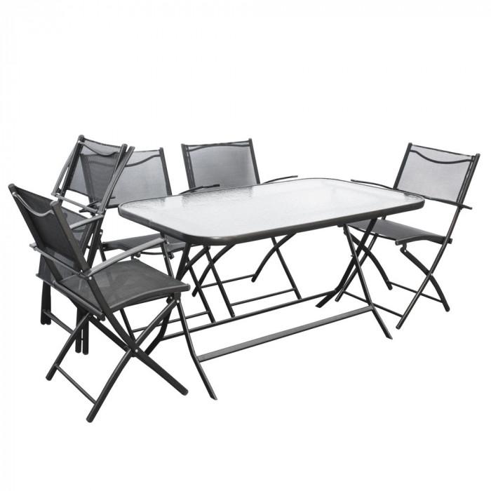 Градински комплект с 6 стола и сгъваема маса