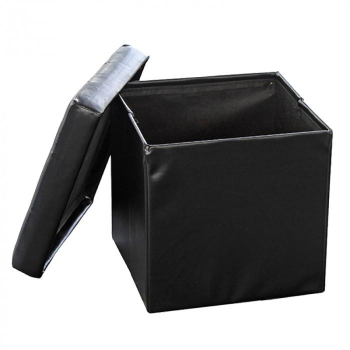 Сгъваема табуретка кутия 3 в 1 черна