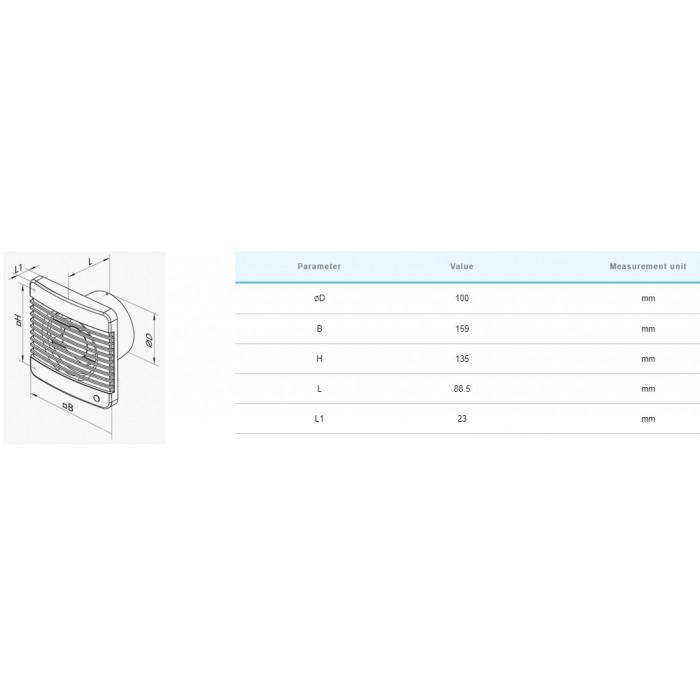 Вентилатор Vents 100 MTP / 14W