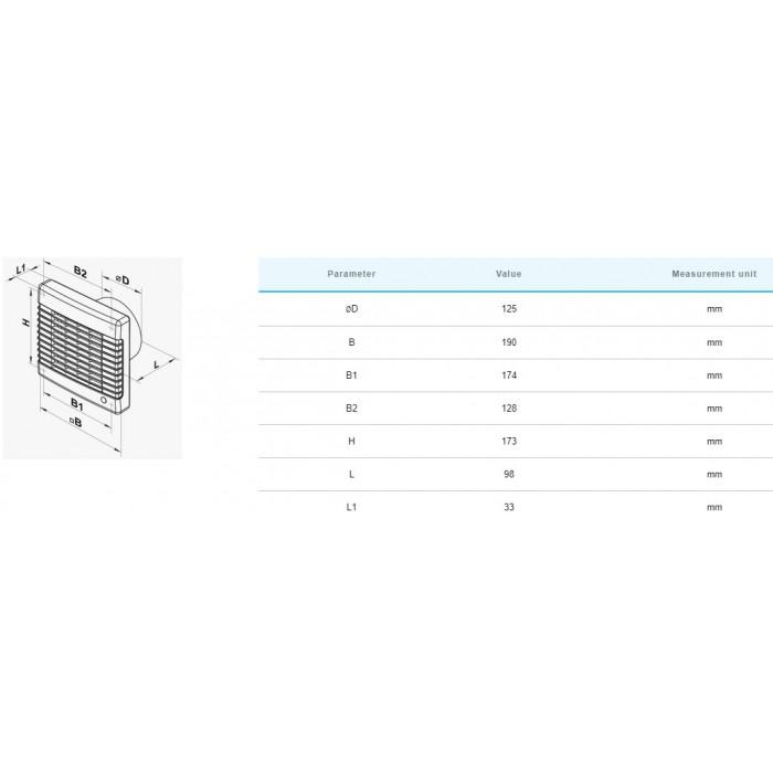 Вентилатор Vents 125MAT / 22W