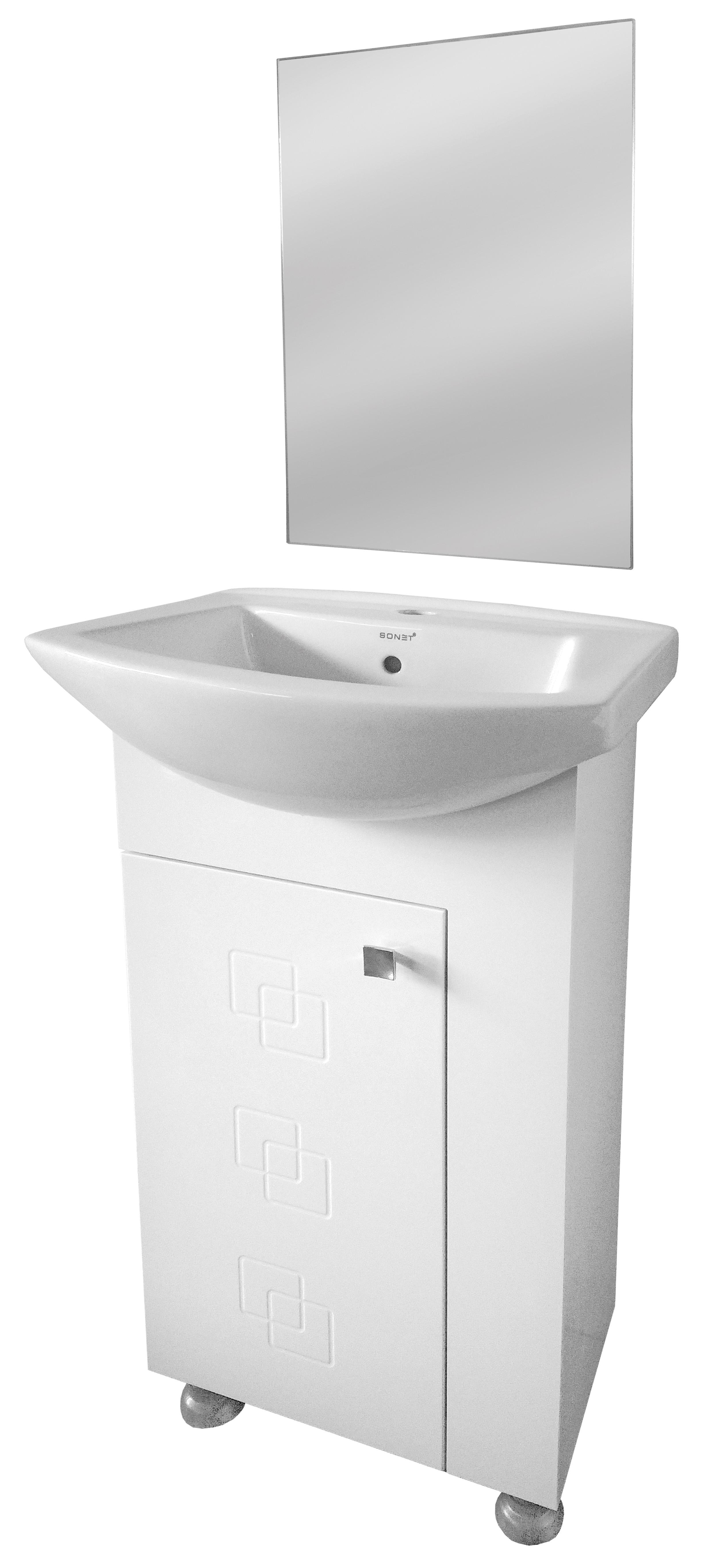 Долен шкаф за баня Коки в комплект с огледало