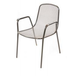 Метален стол с подлакътници My Garden тъмносив