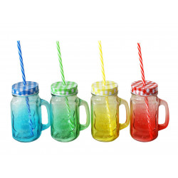 Чаша буркан цветно стъкло с капаче