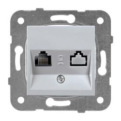 Компютърна розетка CAT5e мех+капак сив Panasonic  Каре Плюс