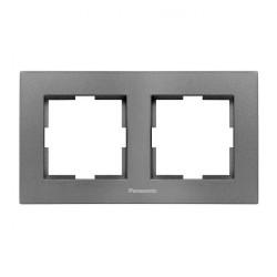 Двойна рамка хоризонтална тъмносив Panasonic  Каре Плюс
