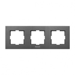 Тройна рамка хоризонтална тъмносив Panasonic  Каре Плюс