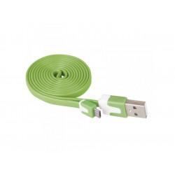 Кабел USB/USB micro зелен Emos