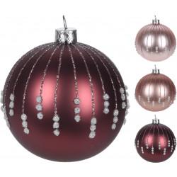 Коледна топка с декорация 8см / AVG104070